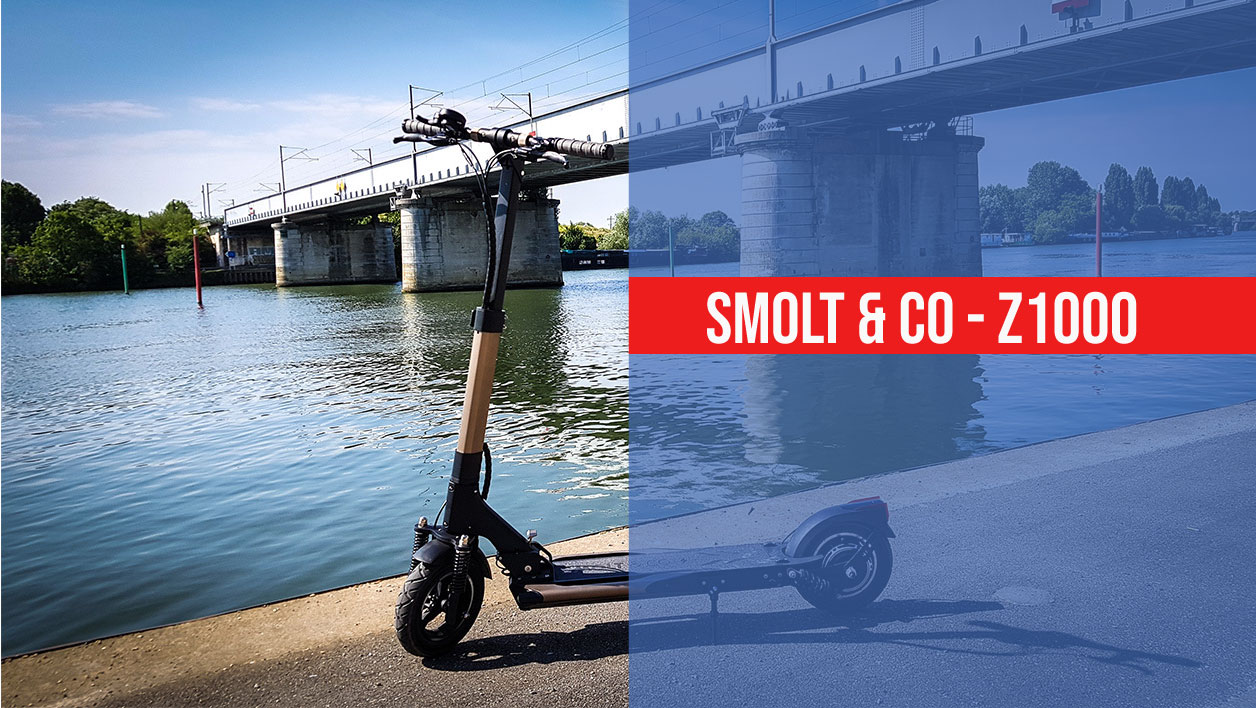 photo de la trottinette smolt&co au bord d'un lac